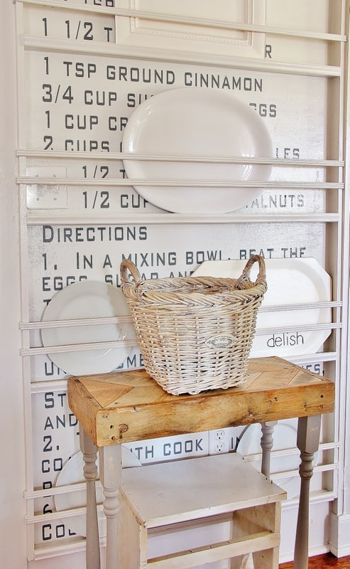 This vintage recipe wall is an interesting kitchen decor element and compliments the farmhouse feel.