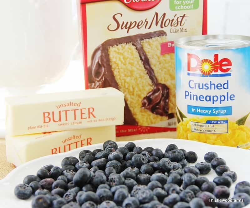 All the ingredients you'll need for this blueberry pineapple dessert