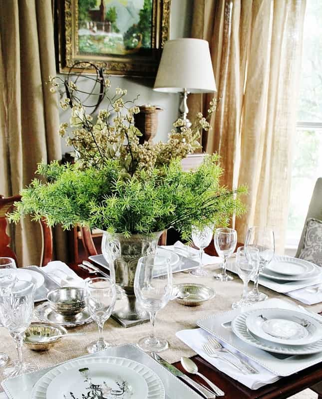 Burlap Curtains Farmhouse Dining Room