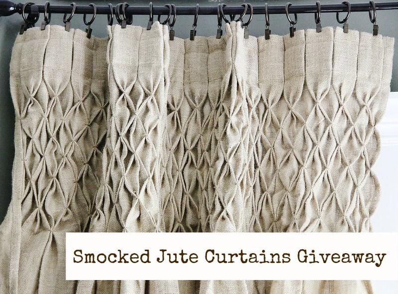 Smocked burlap curtains
