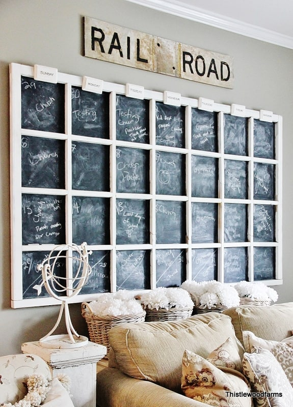Chalkboard Calendar using Old Windows #chalkboard #calendar #oldwindows #vintagewindows #decorating #windows #decor