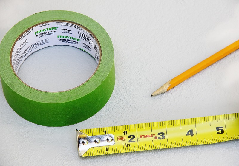 Frog tape, tape measure and pencil are the only supplies you need