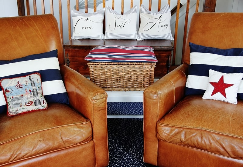 Leather chairs with pillows
