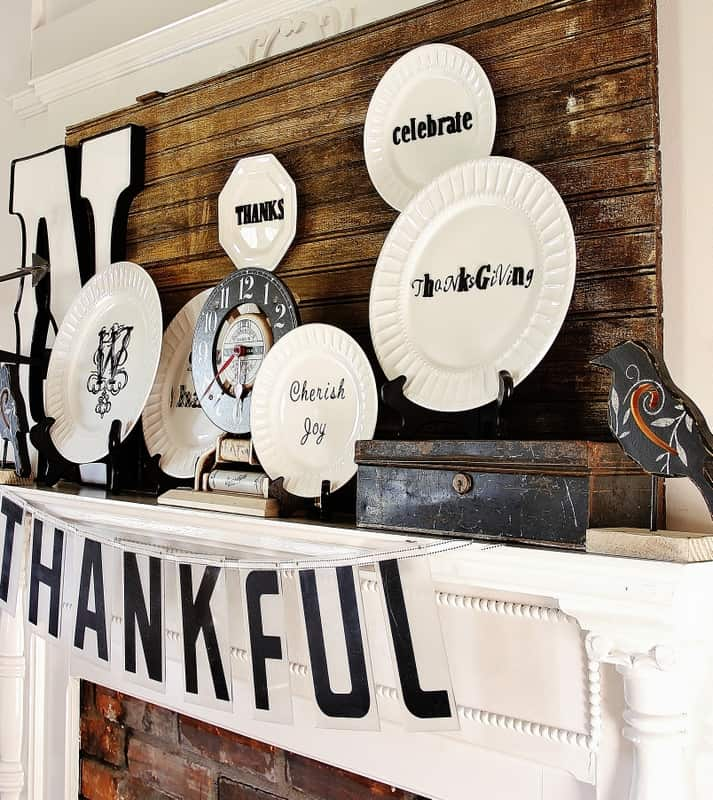 This black and white themed Thanksgiving mantel was so fun