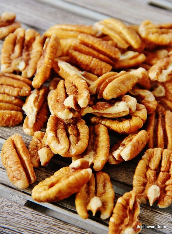 Cut pecans into thirds