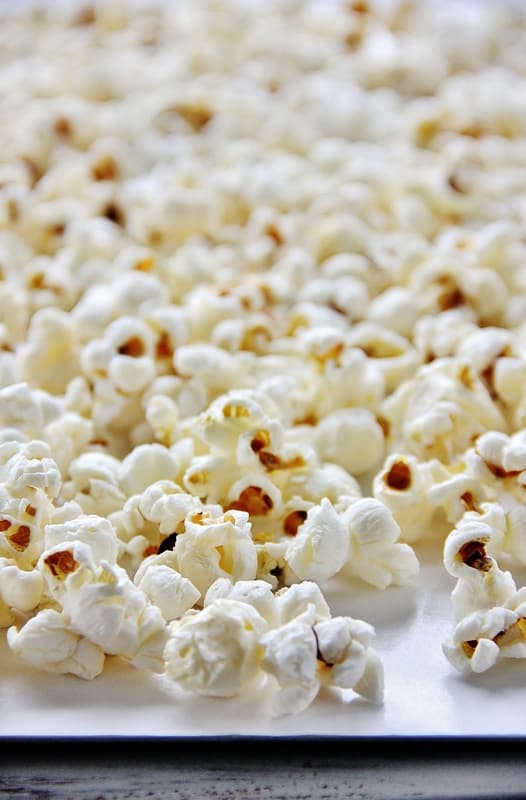 Popcorn on cookie sheet