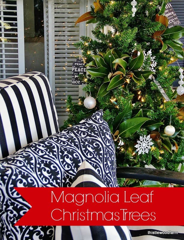 take a look at these gorgeous magnolia leaf christmas trees