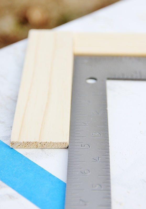 Align the paint sticks with this ruler