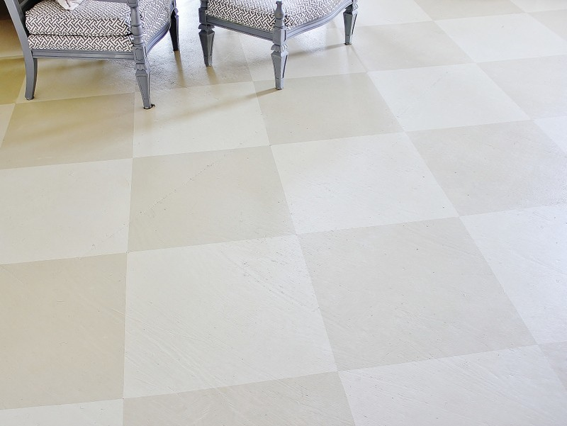 This painted plywood subfloor has an interesting checkered pattern.