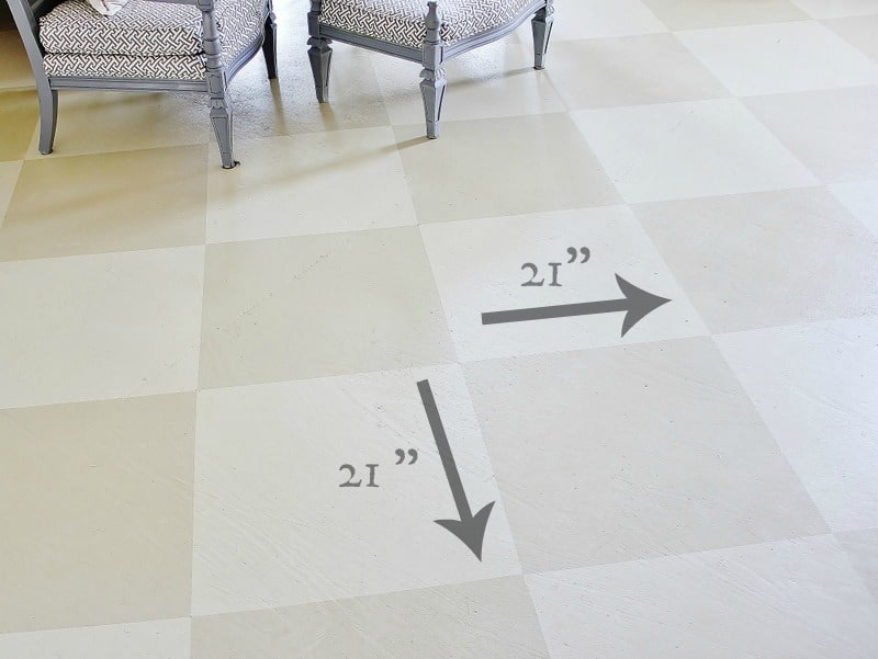This checkered painted plywood floor is charming and unique.