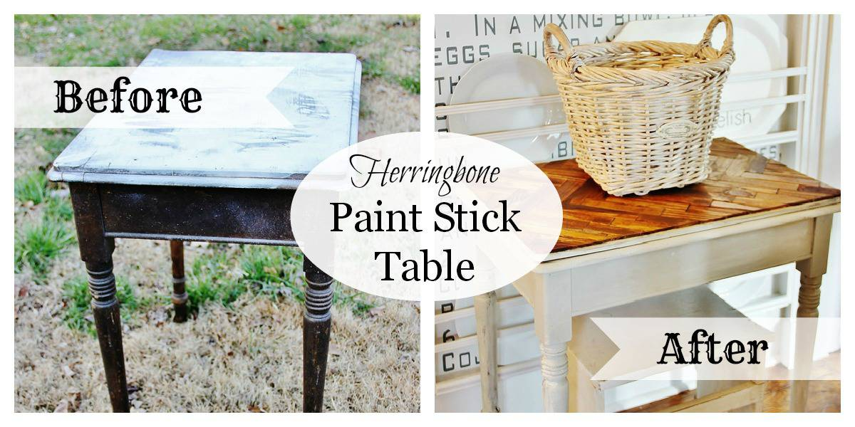 Before and After Paint Stick Table