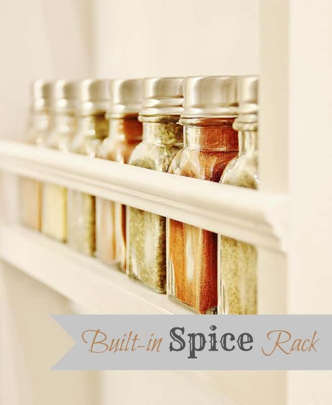 The spices displayed in the new spice rack