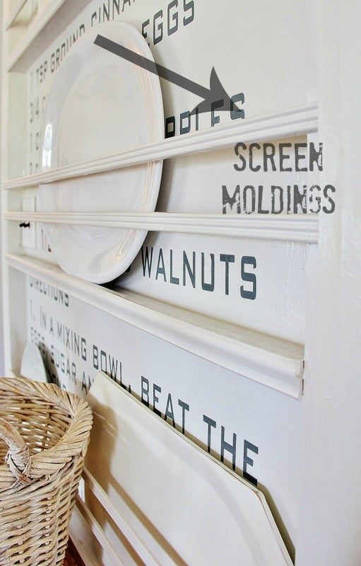 Add screen moldings to the recipe wall as well