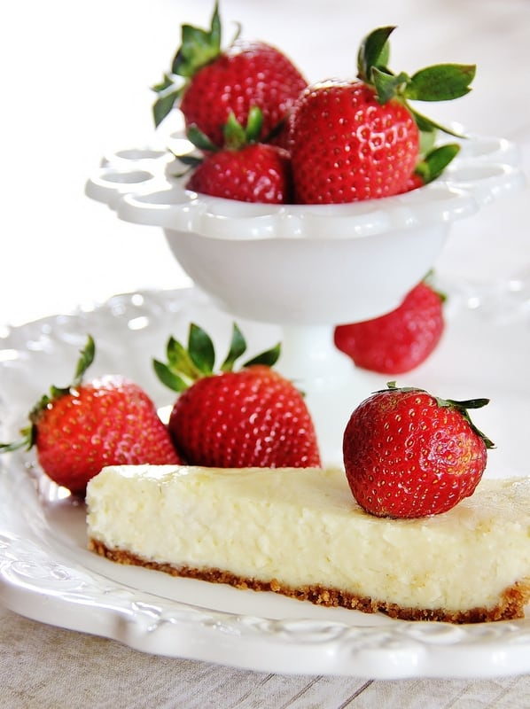 This lemon zest cheesecake with strawberries is light and fluffy.