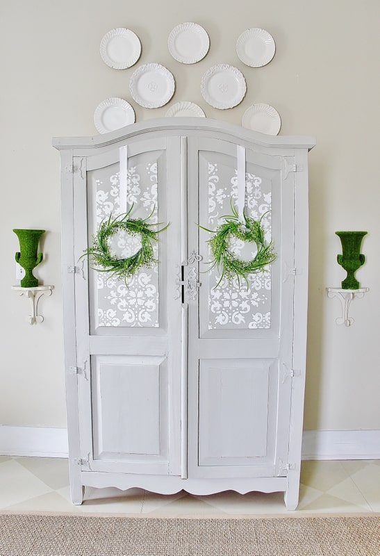 painted gray armoire project