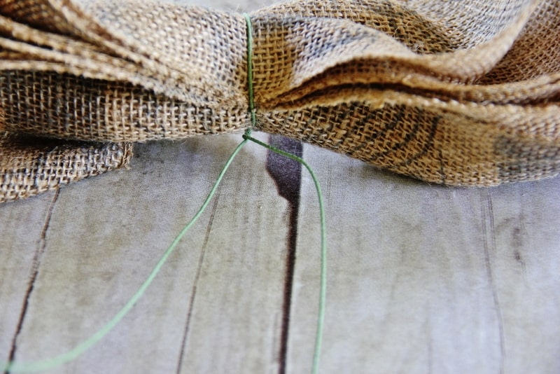 burlap ribbon wrapped with florist wire