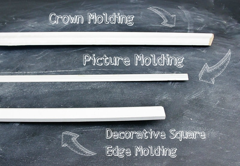three different types of door molding; crown molding, picture molding and decorative square molding