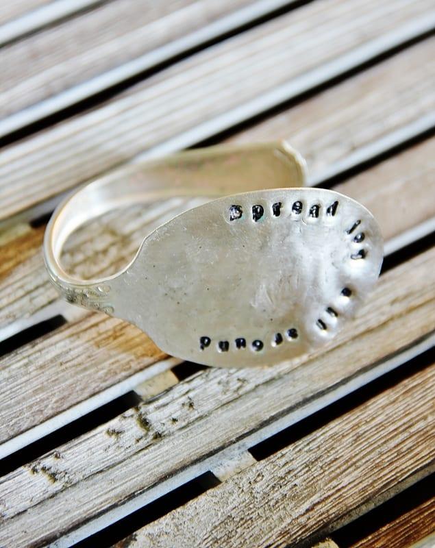 stamped silver bracelet