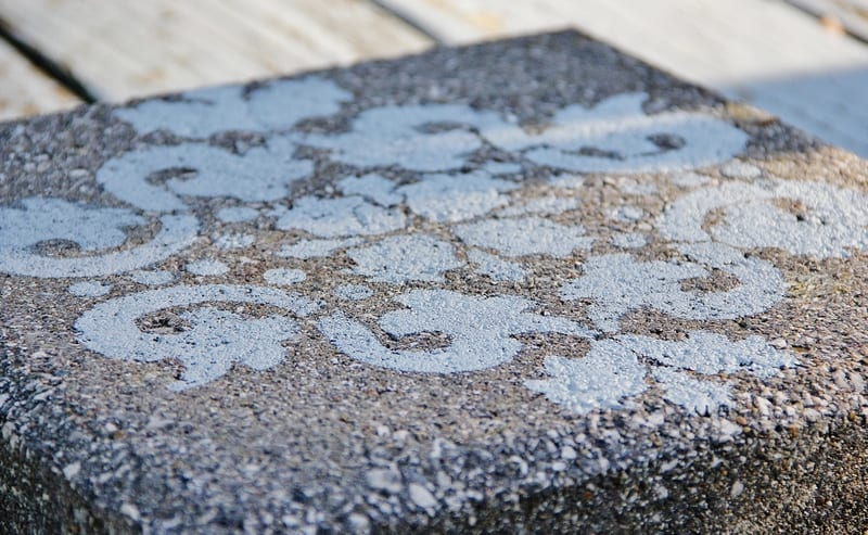 Remove the stencil to show off the beautifully decorated and reinvented paver.