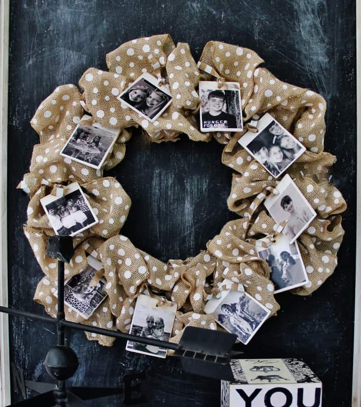 Fluff the wreath and adjust the photos