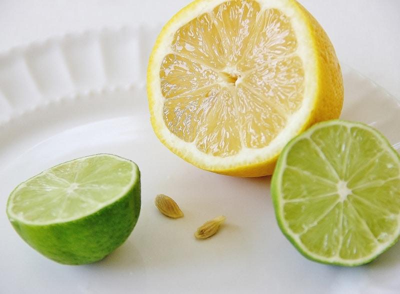 Halves of lemon and lime