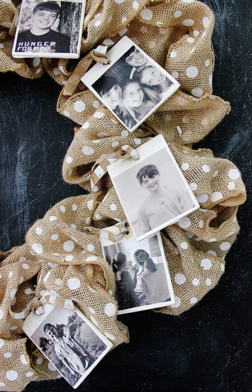 Tie photos to the wreath