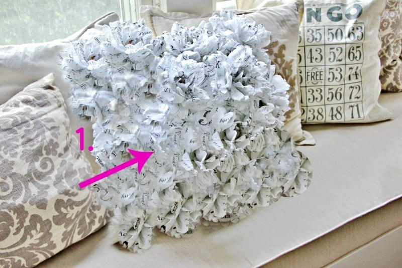 book page flower pillow