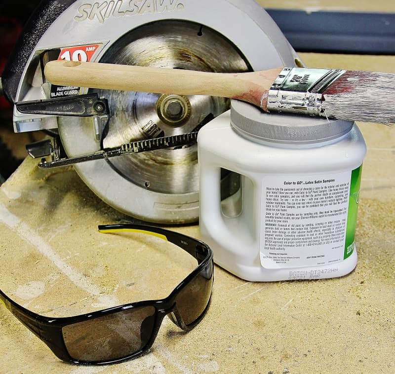 You'll need a saw, safety glasses and paint to begin your project