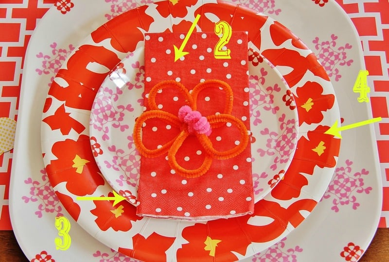 Add pattern and color with inexpensive paper napkins and plates