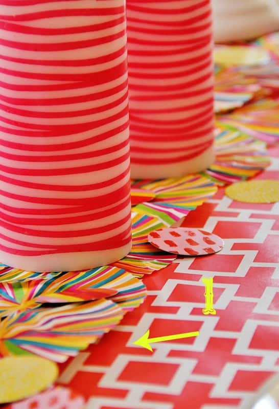 Use cupcake liners to create a runner in the center of the table