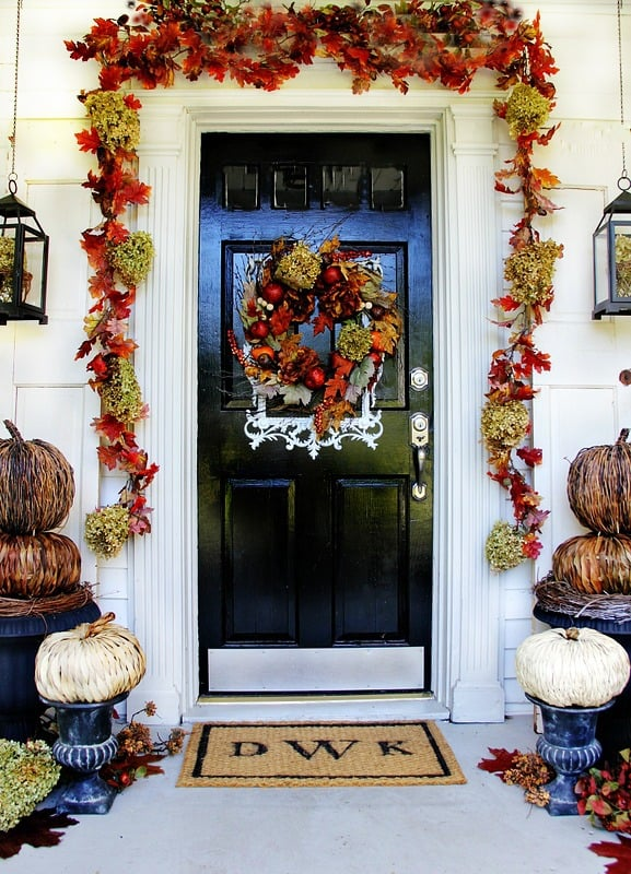 Decorating your front door for fall doesn't need to be expensive or extravagant.