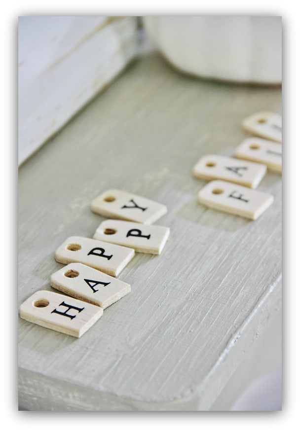 """These little letters spell out """"Happy Fall"""" and are a cute decor element."""