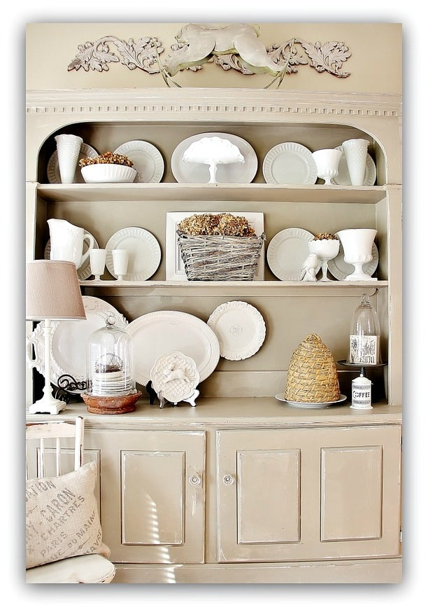 These antique shelves are perfect for displaying china.