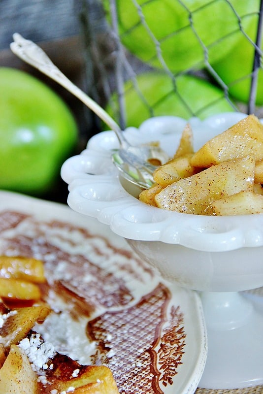 Warm spice apples taste amazing on top of french toast.