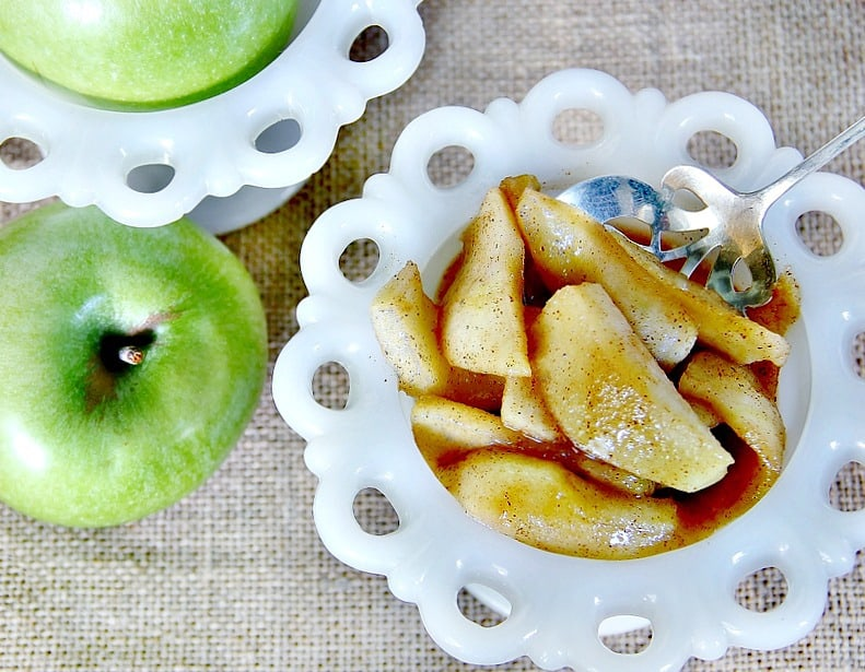 Cinnamon apples to pour over your french toast are a must.