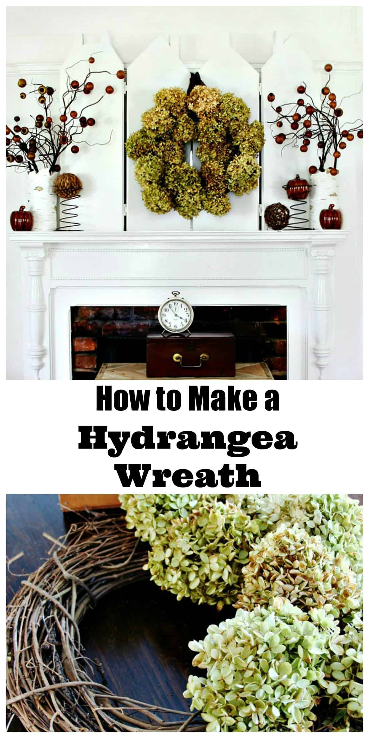 How to make a gorgeous hydrangea wreath for your fall mantel.