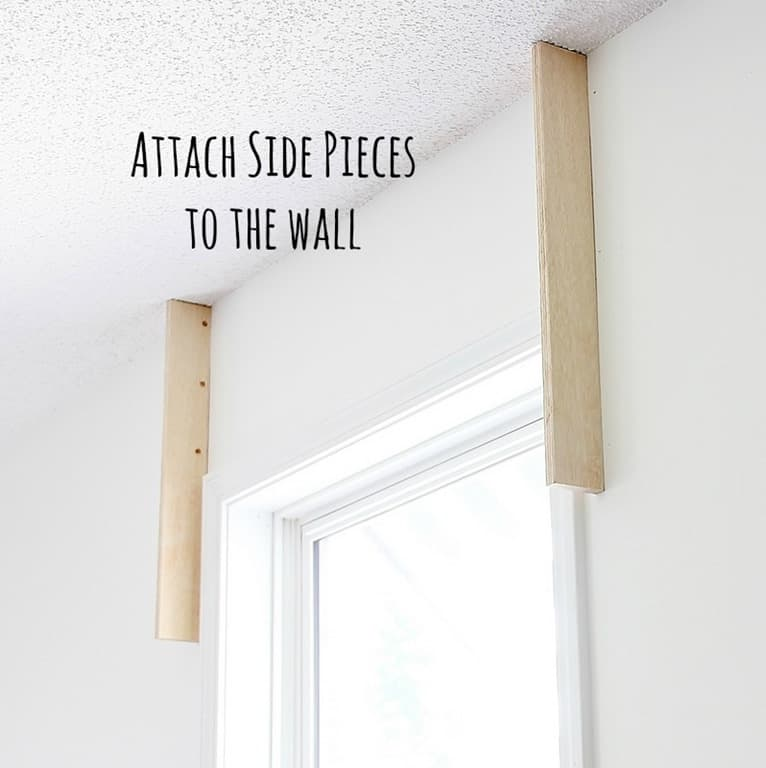 Attach the side pieces to the wall for your cornice board