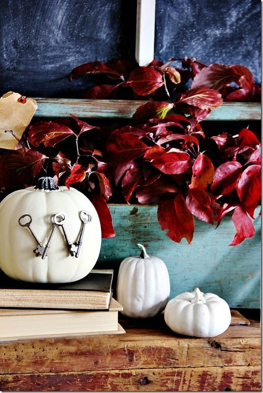 pumpkin with keys to decorate for fall