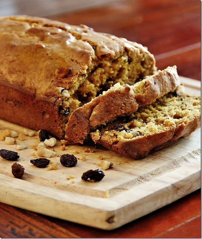 This walnut raisin pumpkin bread is the perfect recipe for fall.