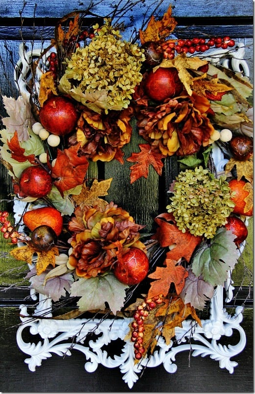 fall decor to Christmas wreath