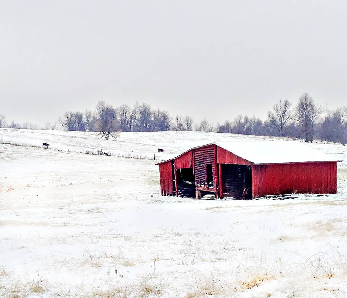 This gorgeous winter scene of a red barn with a snow covered roof in the middle of a snow-dusted field with trees in the background would make a beautiful watercolor painting