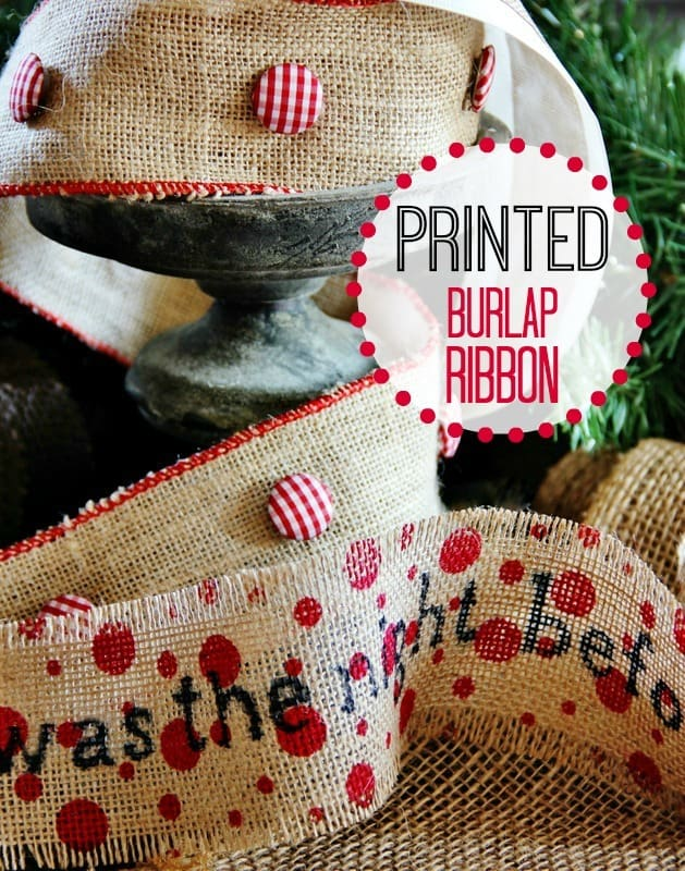 Printed burlap ribbon thistlewood farm for Burlap ribbon craft ideas
