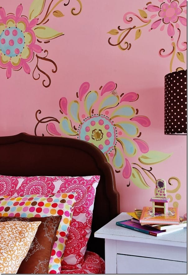 pink-and-brown-girls-room-side-table