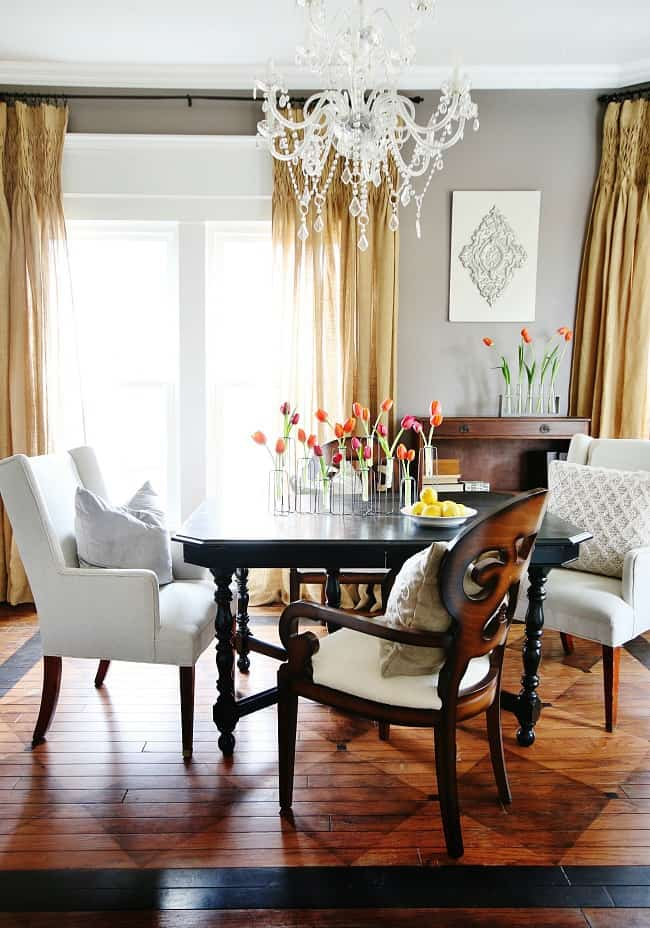 Yard sales are a great for finding affordable yet expensive looking pieces to decorate your dining room.