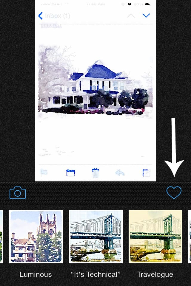 Using the app Waterlogue, you can share and post photos you've edited by tapping the heart icon on the screen