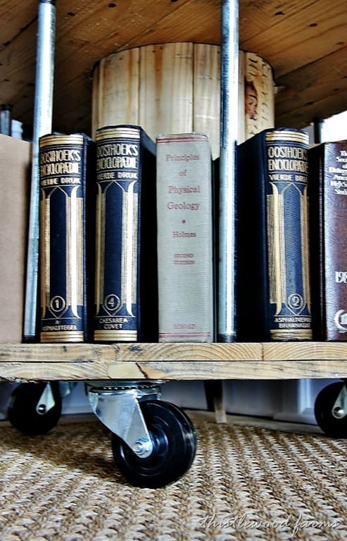 This spool bookcase is a great spot to display these old classic books