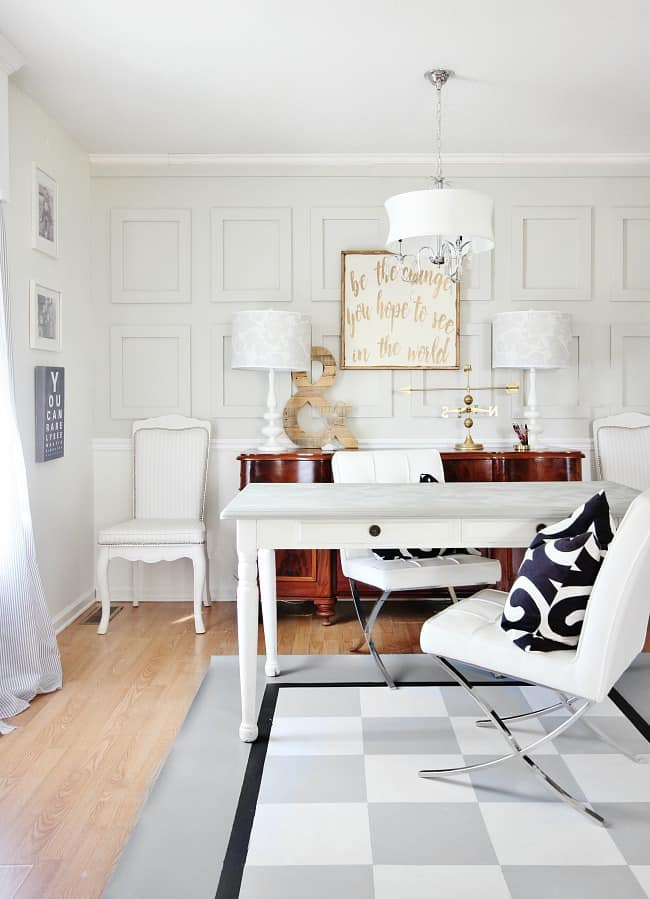 This floor cloth was so easy (and inexpensive) and transforms the look of the room