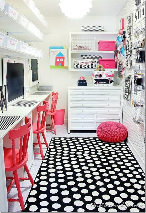 built in desk for craft room with bright colors and polka dot rug