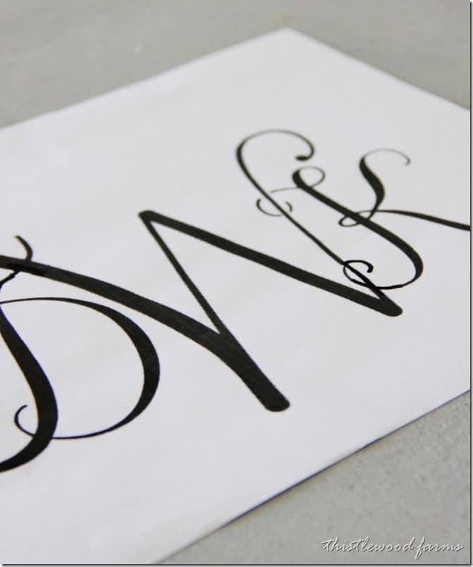 My monogram stencil- to make sure there are no errors.