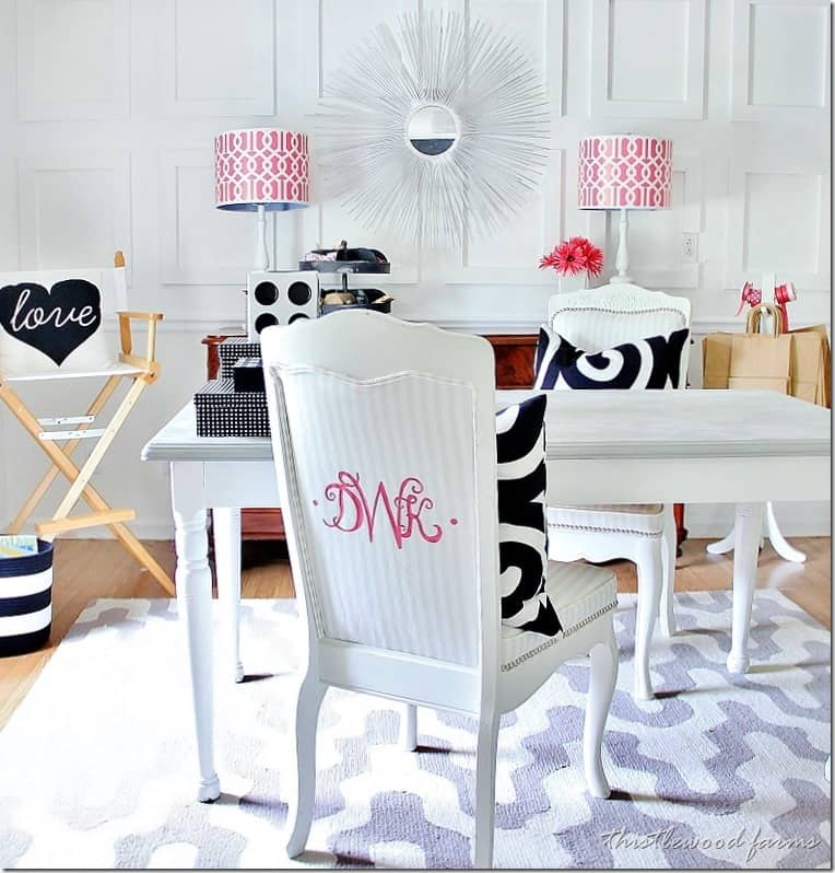 Adding a pop of color with a monogram can work on almost any fabric.
